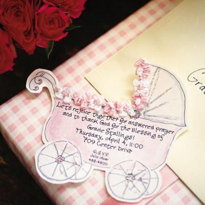 #Spring #babyshower carriage invitation
