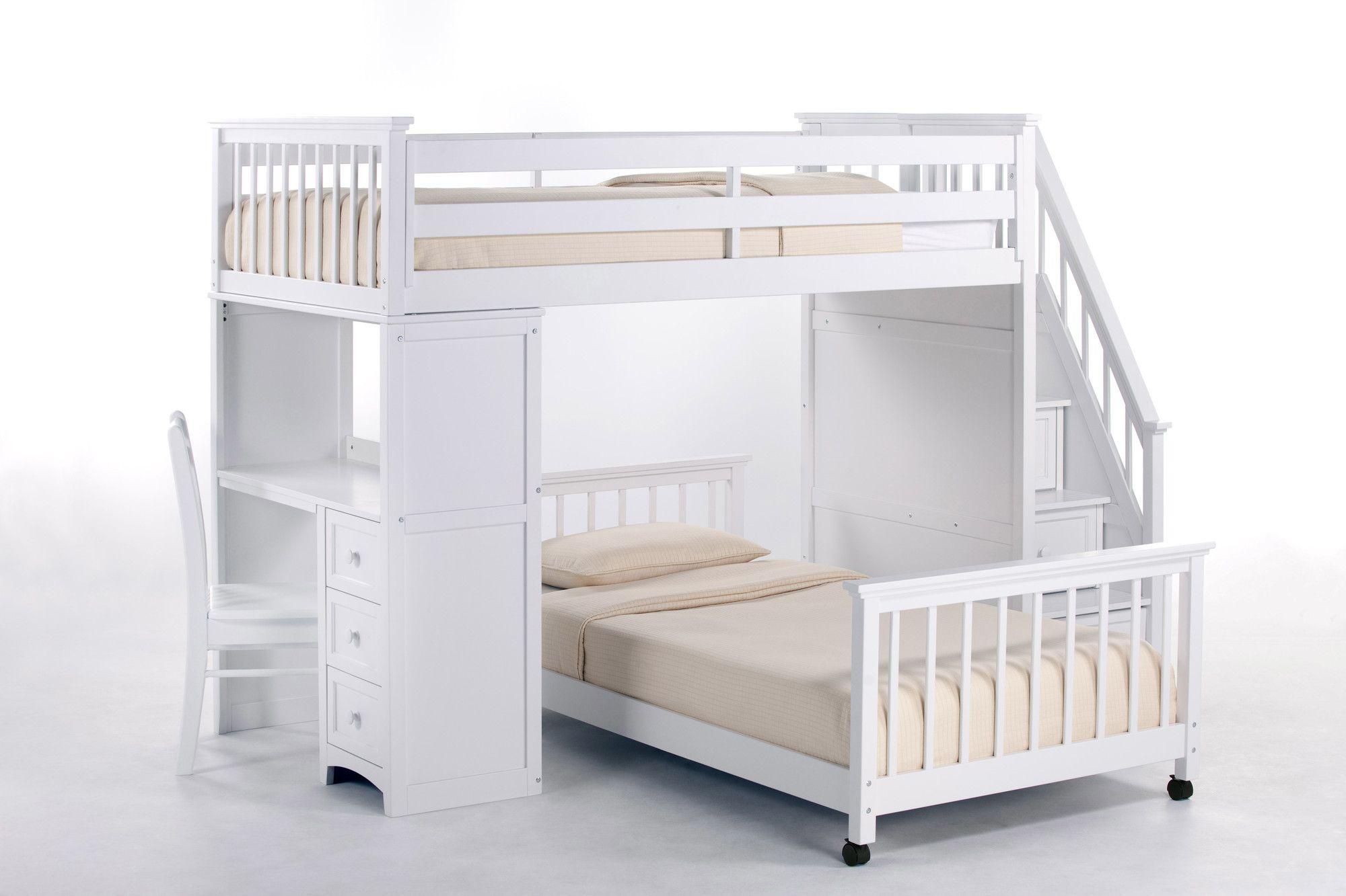 School House Stair Loft Bed with Desk End Wayfair Bunk