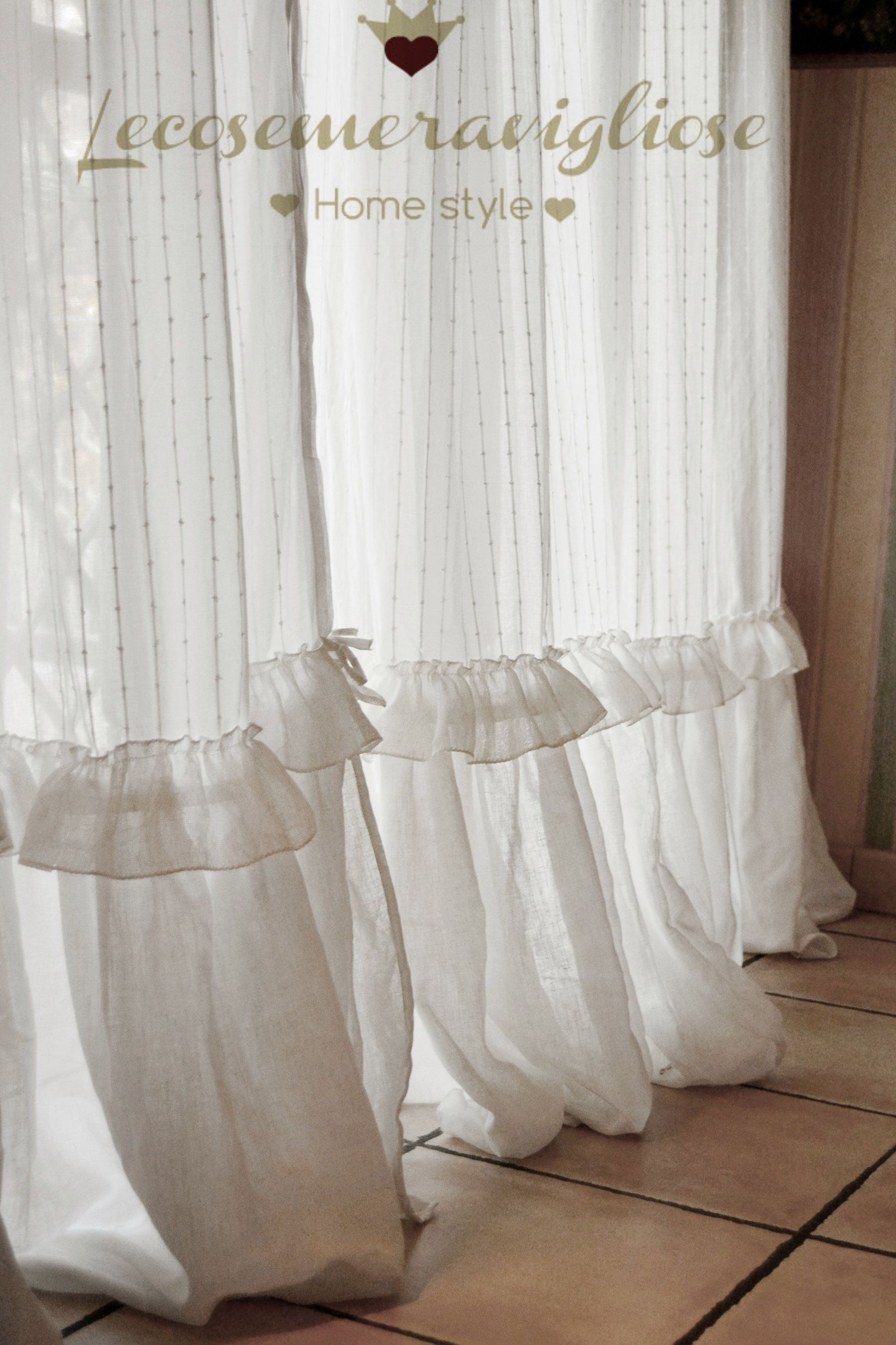 Tende shabby chic in lino bianco perfect idee cucito - Rideaux shabby chic ...