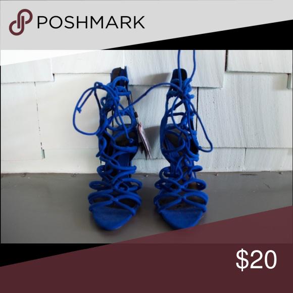 b96b88708a46 NWT Zara lace up royal blue high heels Zara high heels in a Royal Navy blue
