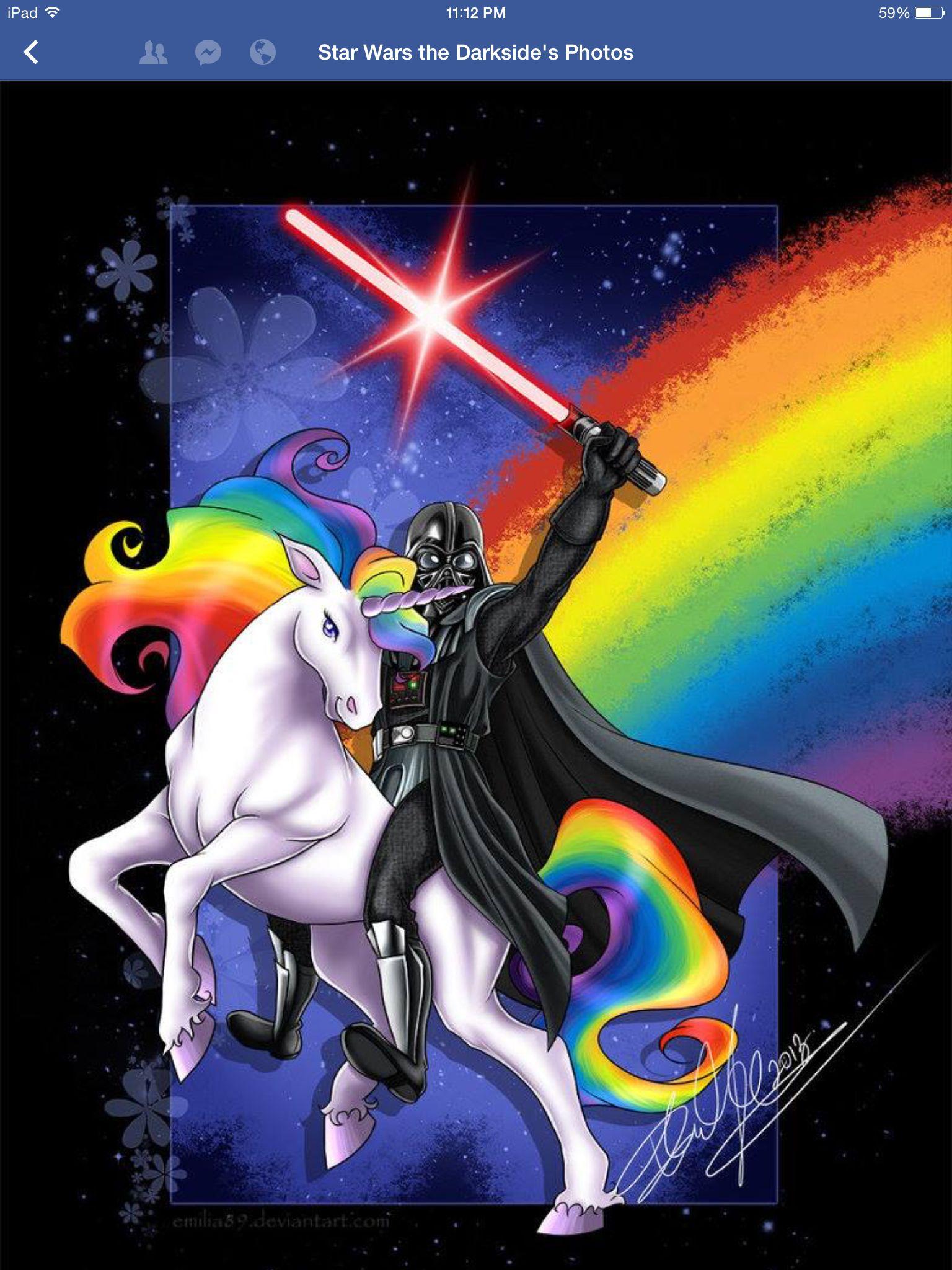7a1e91d2 Darth Vader on a rainbow unicorn | Starwars | Star wars, Star wars ...