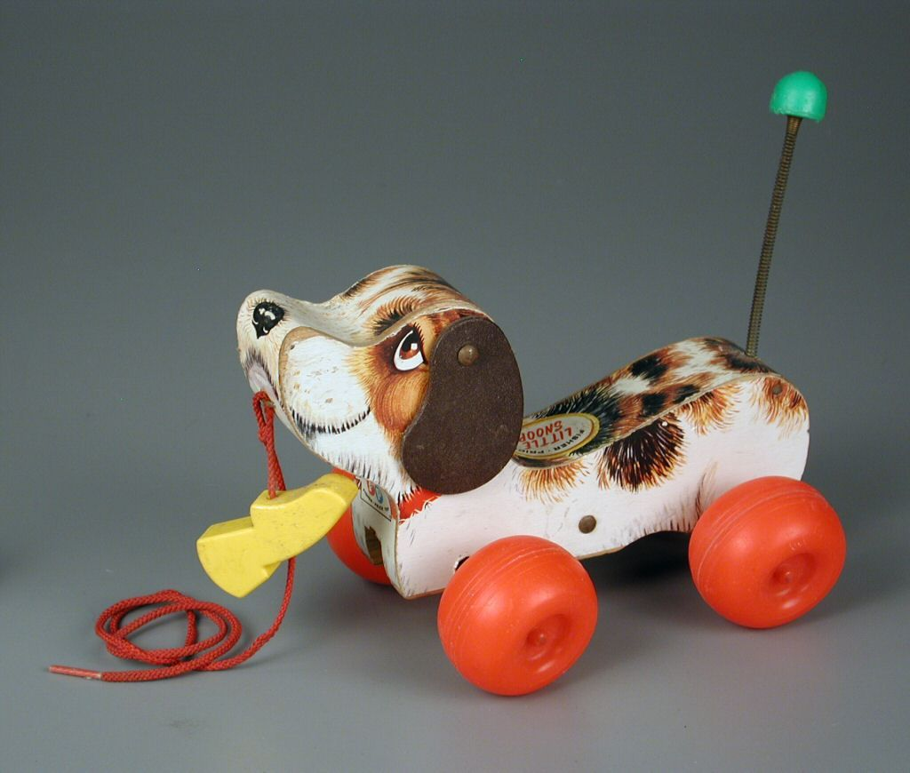 1980s Fisher Price Dog Little Snoopy Pull Toy Vintage Baby