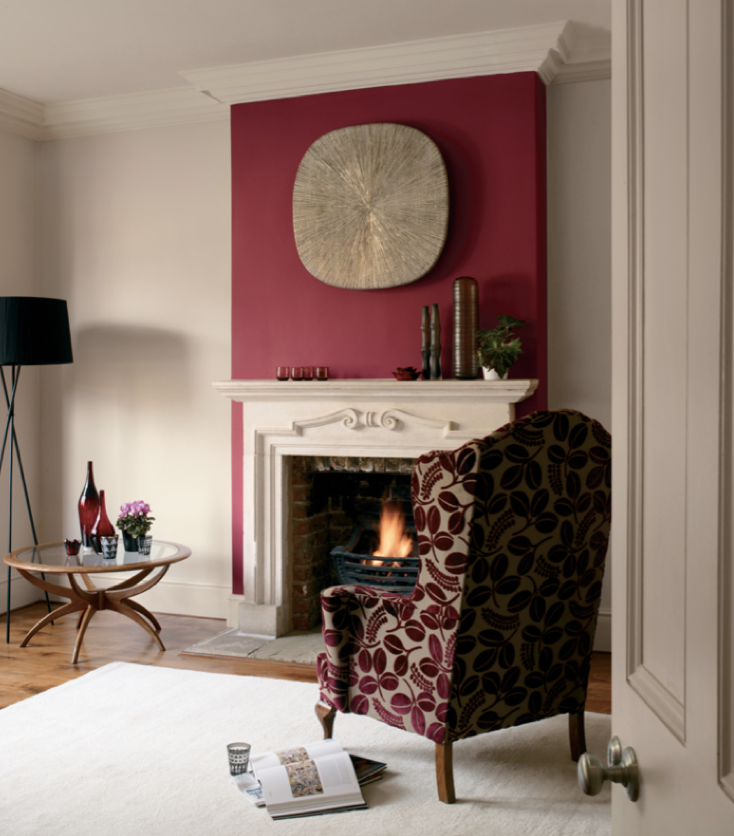For a night in front of the fire keep the passion alive - Red walls in living room ...