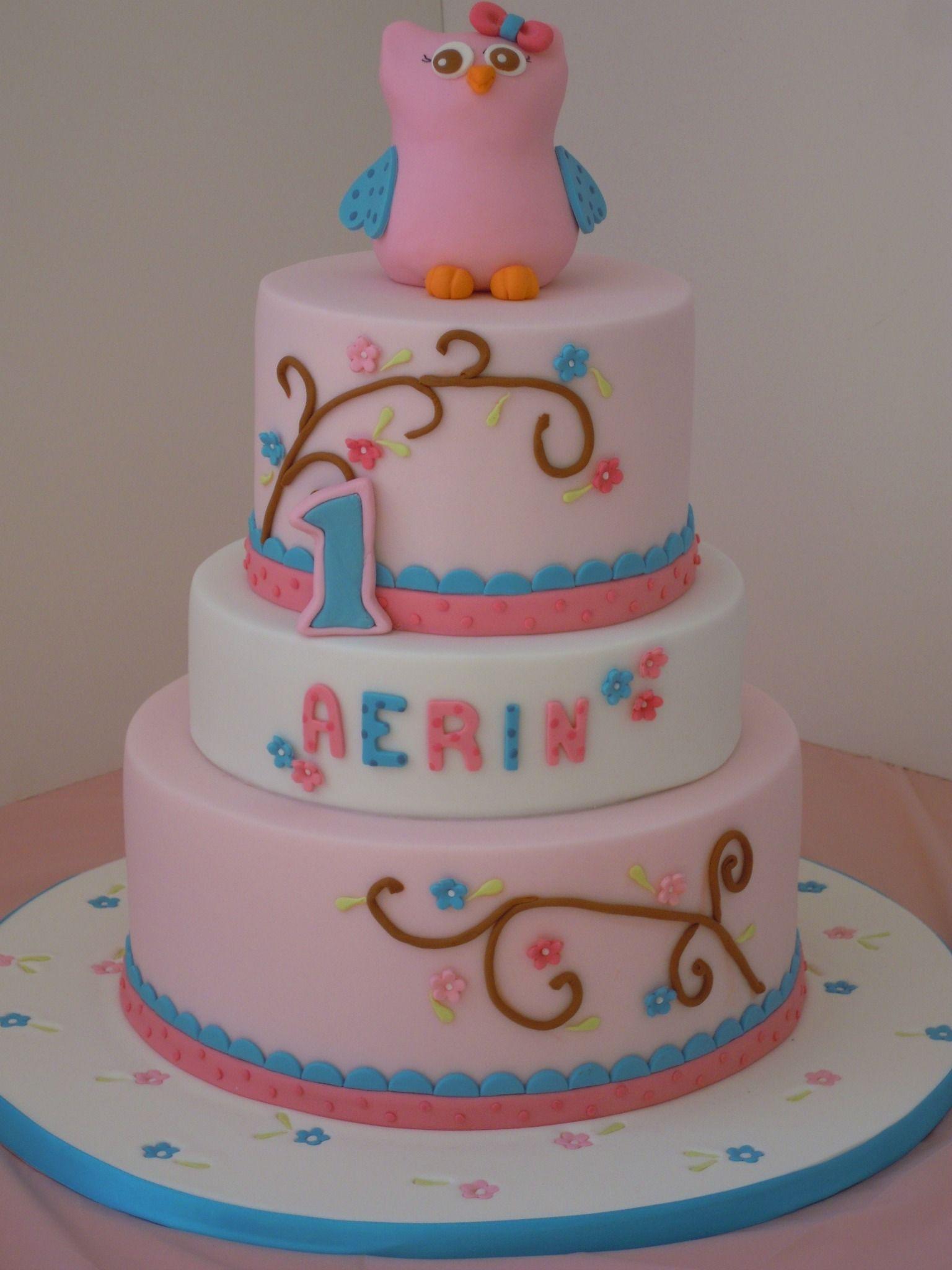 Owl Theme 1st Birthday Cake