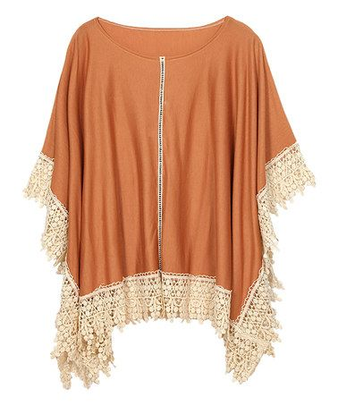 Another great find on #zulily! Rust & Ivory Crochet-Detail Poncho #zulilyfinds
