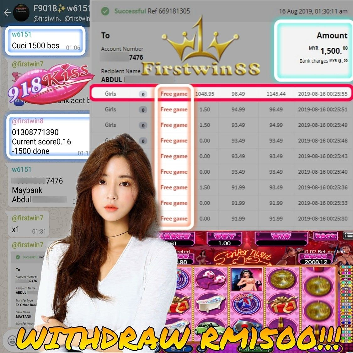 Congratulations to #Firstwin88 #918Kiss MemberF9018 SlotGame #Girls Won PriceRM1500 #GameBonus explore Pinterest