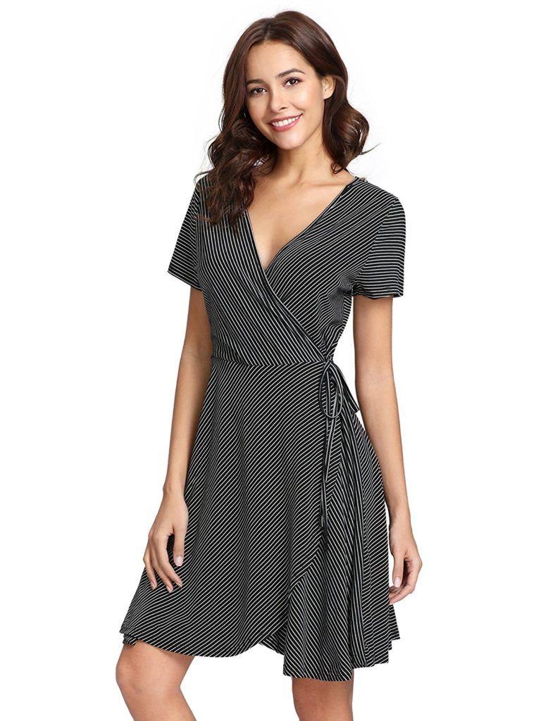 Milumia Women S V Neck Surplice Short Sleeve Striped Wrap Short Dress Shop2online Best Woman S Fashion Products Designed To Provide Wrap Dress Short Womens Dresses Dresses [ 1024 x 788 Pixel ]