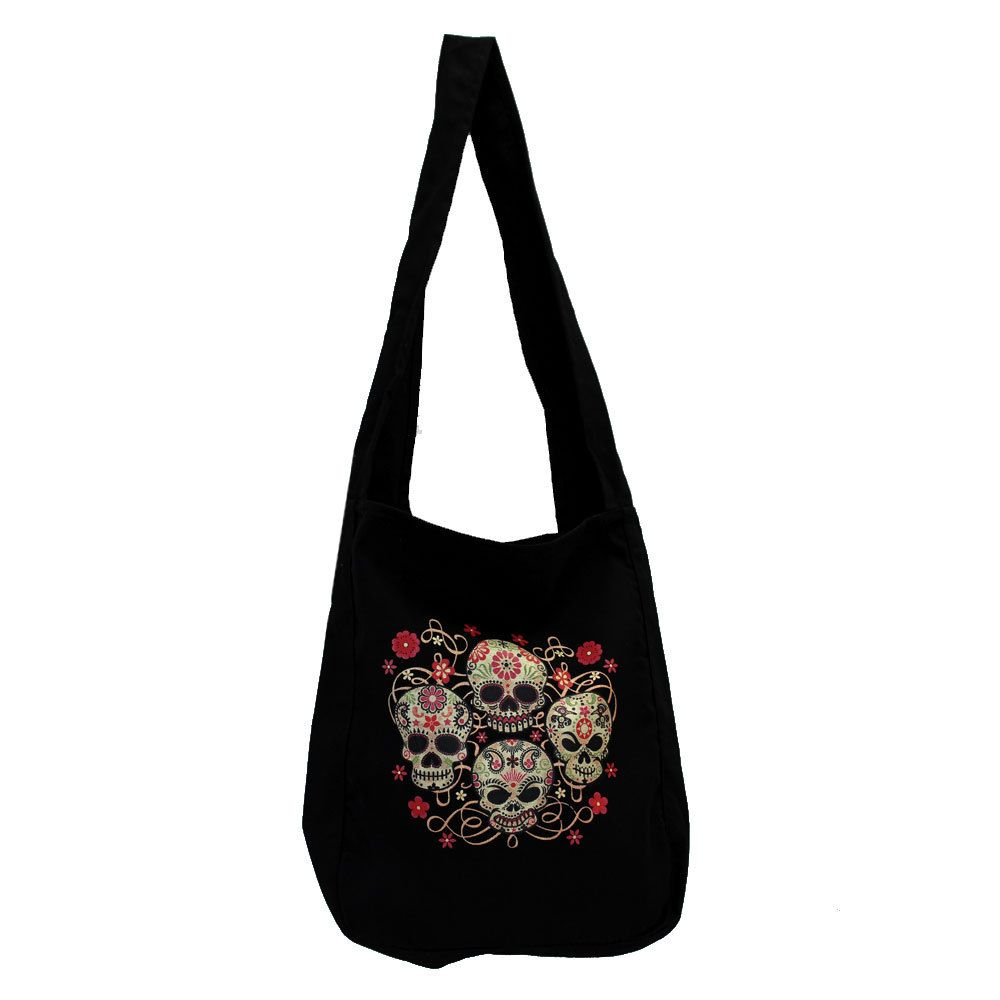 Black Canvas Sling Bag with Four Day of the Dead Skulls  4524ae1945f
