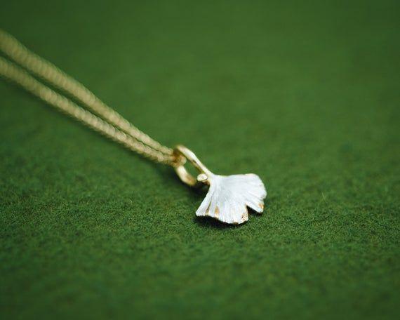 Gingko Leaf - Japanese jewelry - pendant head & chain - Gingko jewelry - Ginkgo - Autumn leaf - Clas