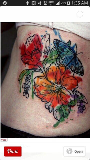 Flowers Tattoo By Klaim Street Tattoo: Water Color Flower Tattoos