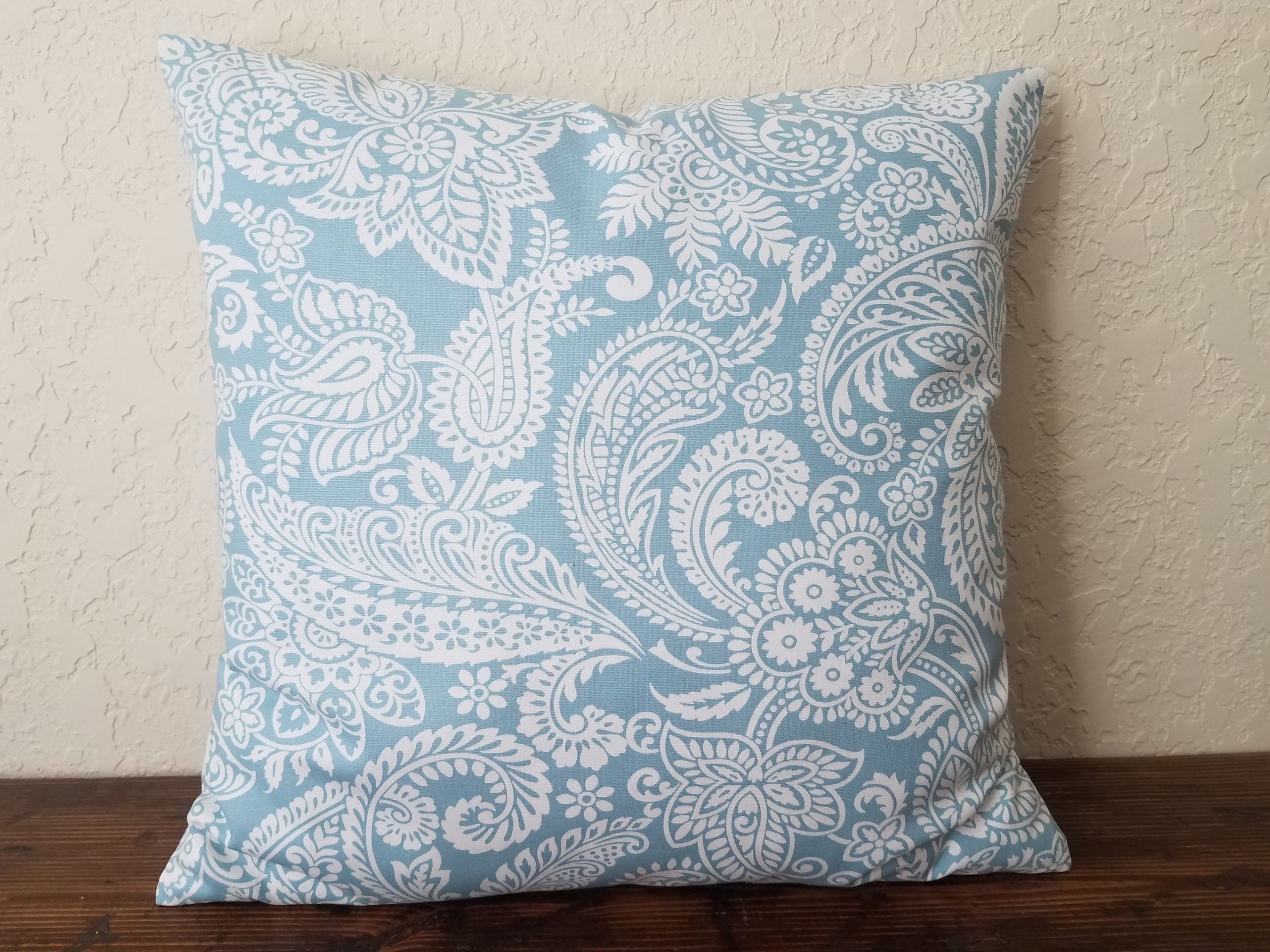 Spa Blue Floral Pillow Covers, Throw
