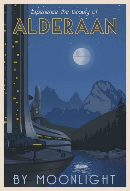 More! // Retro posters add charming twist to Star Wars galactic travel.
