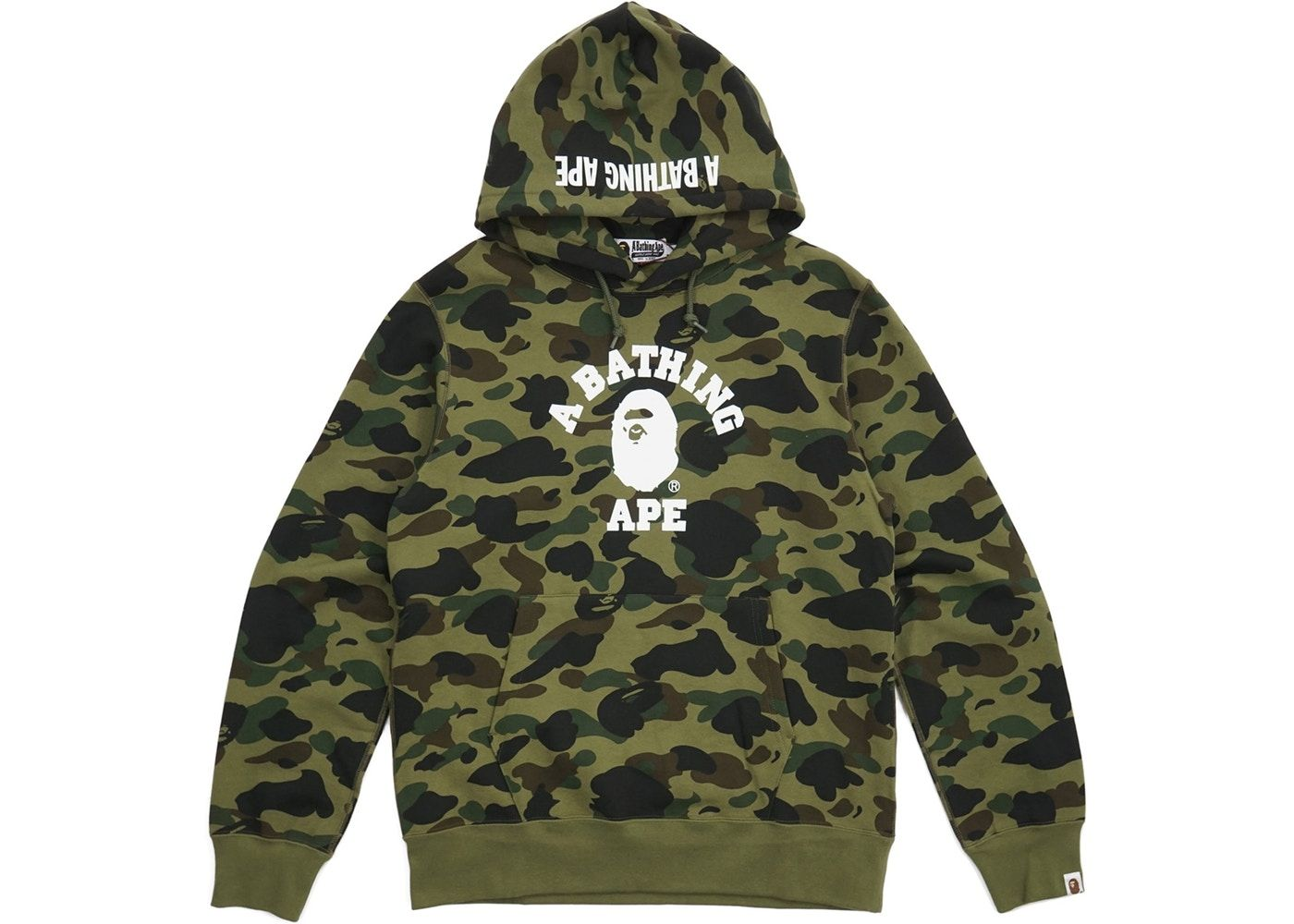 54b97eb534ab Bape 1st Camo College Logo Pullover Hoodie Green