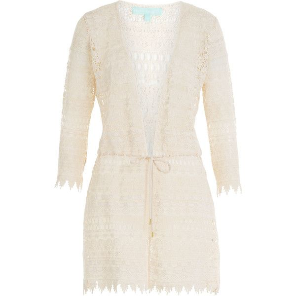 Melissa Odabash Crocheted Caftan ($319) ❤ liked on Polyvore featuring tops, tunics, beige, crochet tops, tie front top, caftan tunic, beige top and v-neck tops