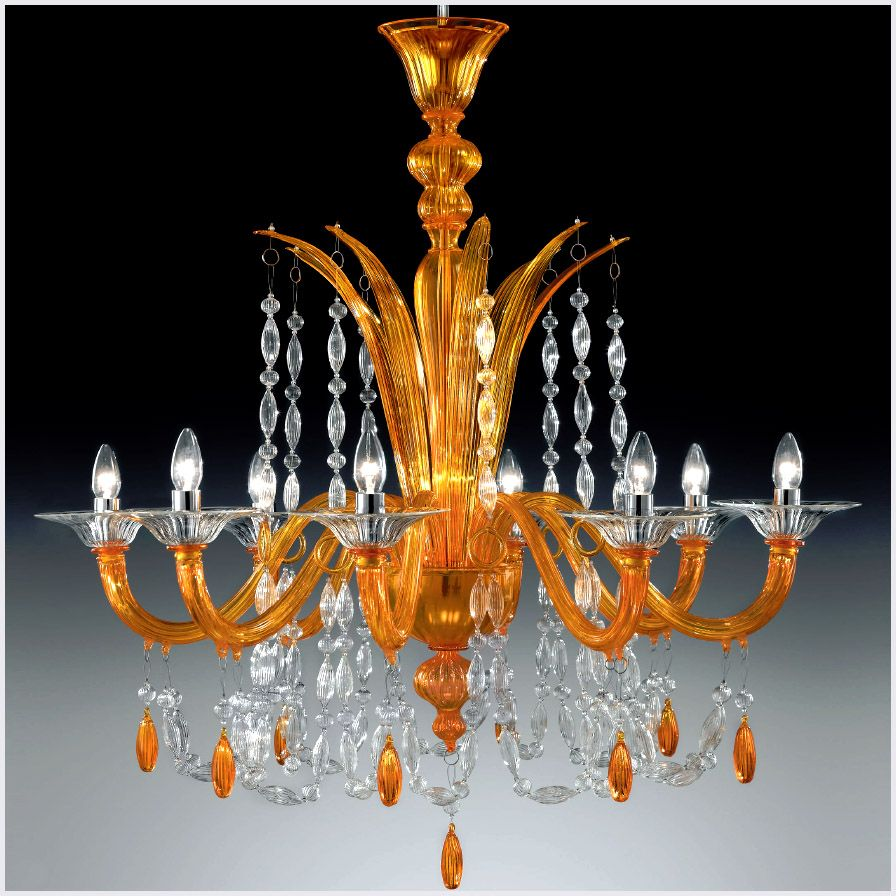 Chandleir With Modern Contemporary Touch 8 Lights Orange