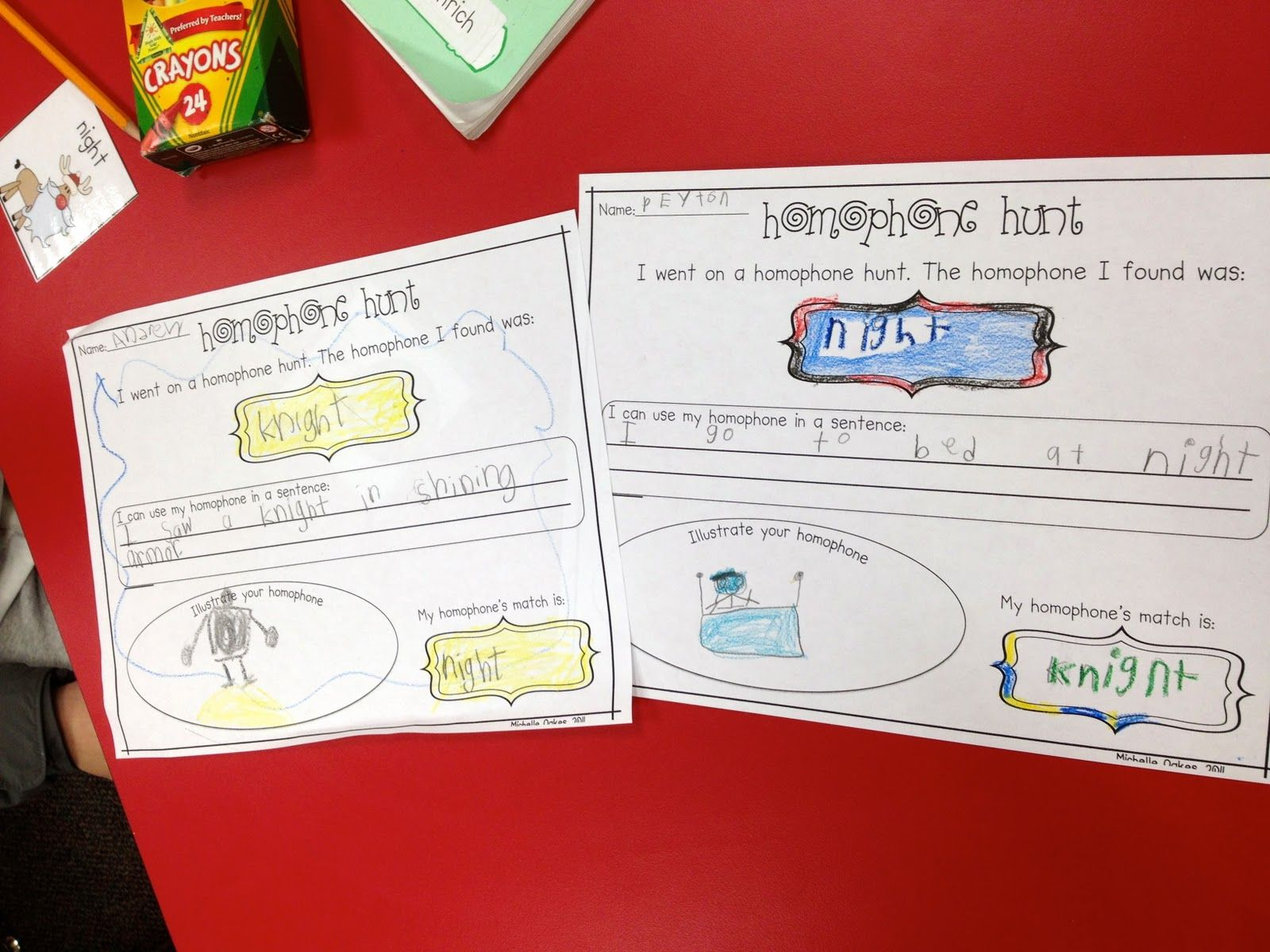 Homophones Hunt Worksheet