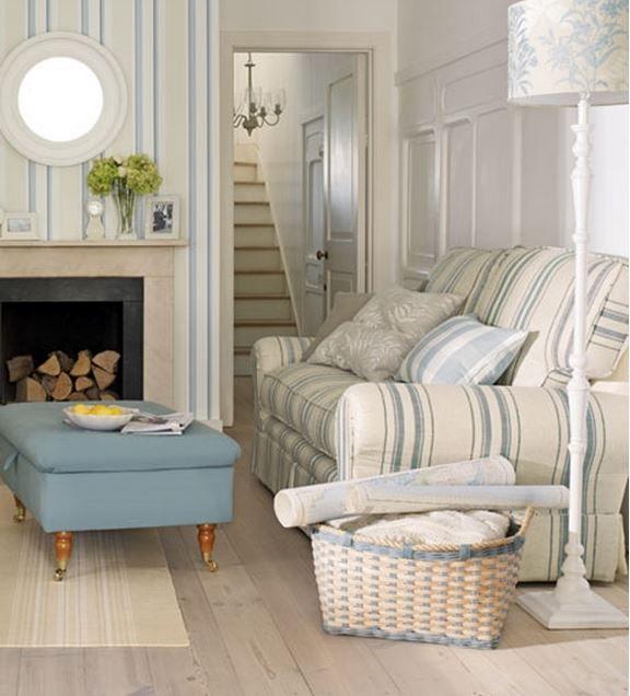 Laura ashley coastal living room love the stripes and for Laura ashley living room ideas