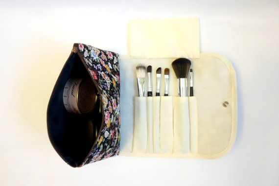 Large Fl Makeup Bag With A Brush Holder Flap And Snap On