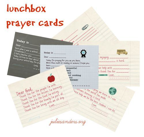 10 Ways Graduated Moms Bless School Moms. Free Printable Lunchbox Prayer Cards. http://www.juliesanders.org/2015/08/10-ways-graduated-moms-bless-school-moms/
