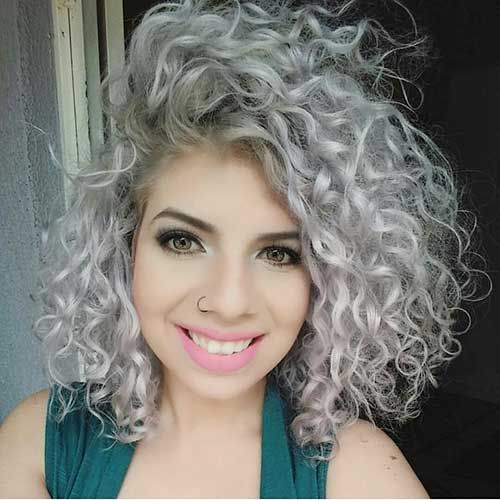 8 Short Curly Hairstyle Platinum Blonde Hair Colored