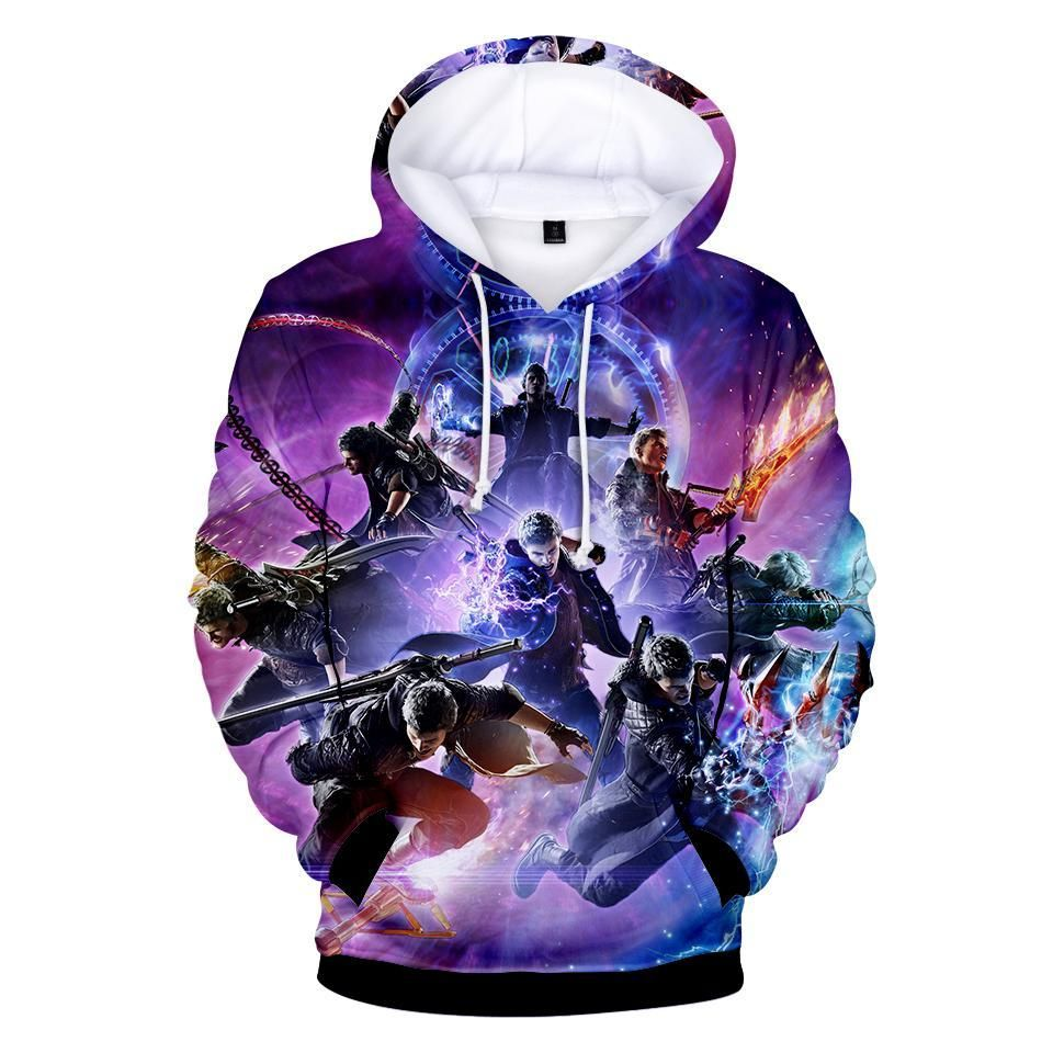 Devil-May-Cry Fashion Mens Hoodie Printed Sweatshirt Hat Pocket Pullover Casual Sweaters