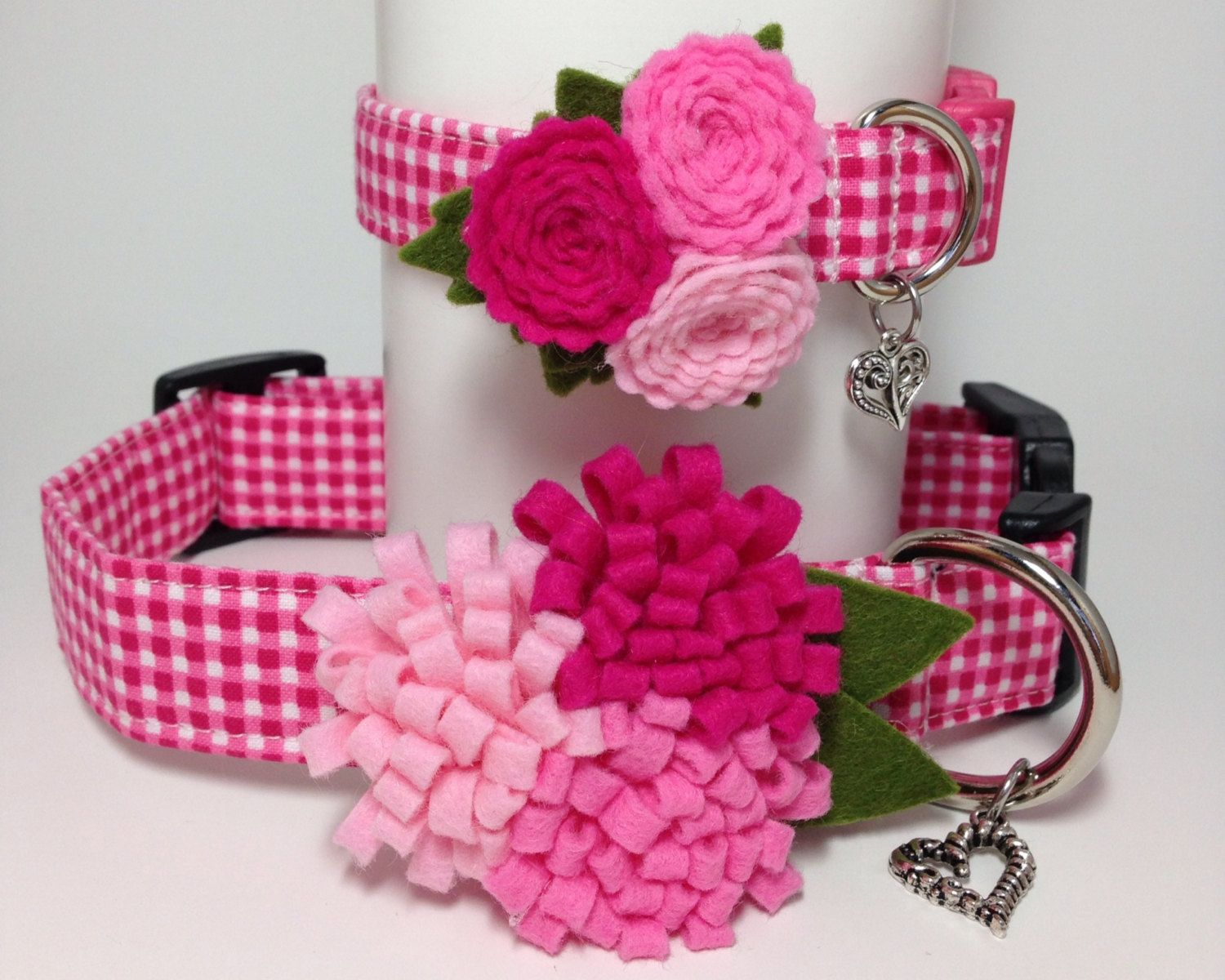 Vip gingham check pink flower dog collar dog collars dog and vip gingham check pink flower dog collar dhlflorist Choice Image