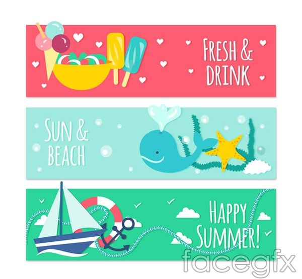 Free download Summer elements banner vector. Free vector includes popsicles, ice cream, love, summer, starfish, whales, sea grass, sea, sailing, sailing, swimmi