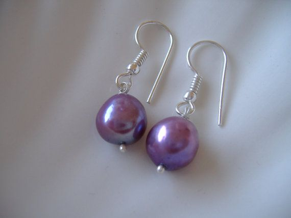 Large Baroque Pearl Earrings Lilac Wedding Colored Pearls Cultured Uk