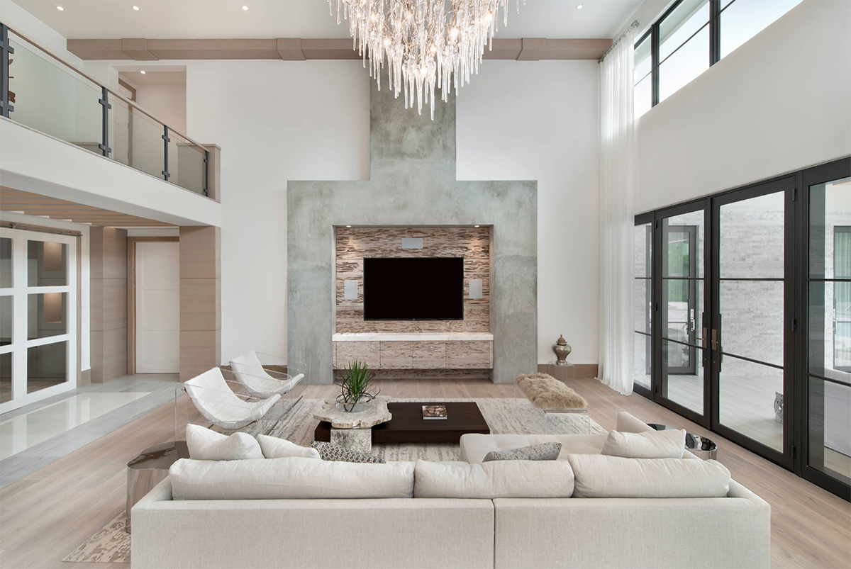 Chic All White Modern Living Room Decor With Comfy Sectional