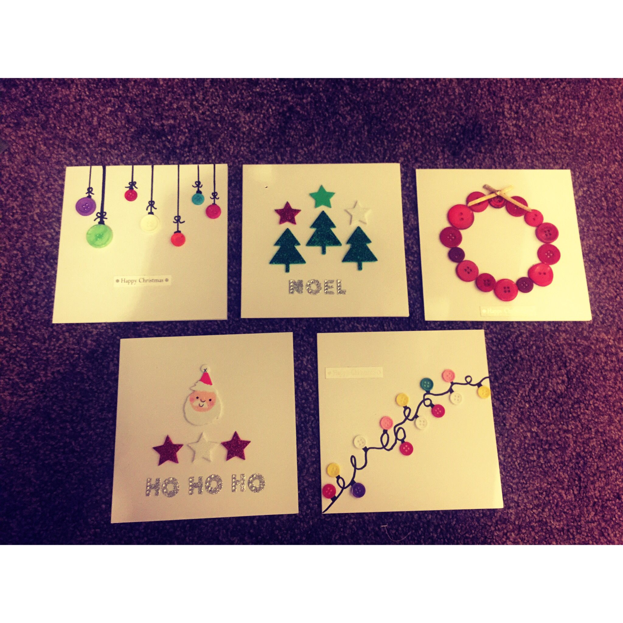 Homemade Christmas Cards Made With Buttons And Sharpie Pens