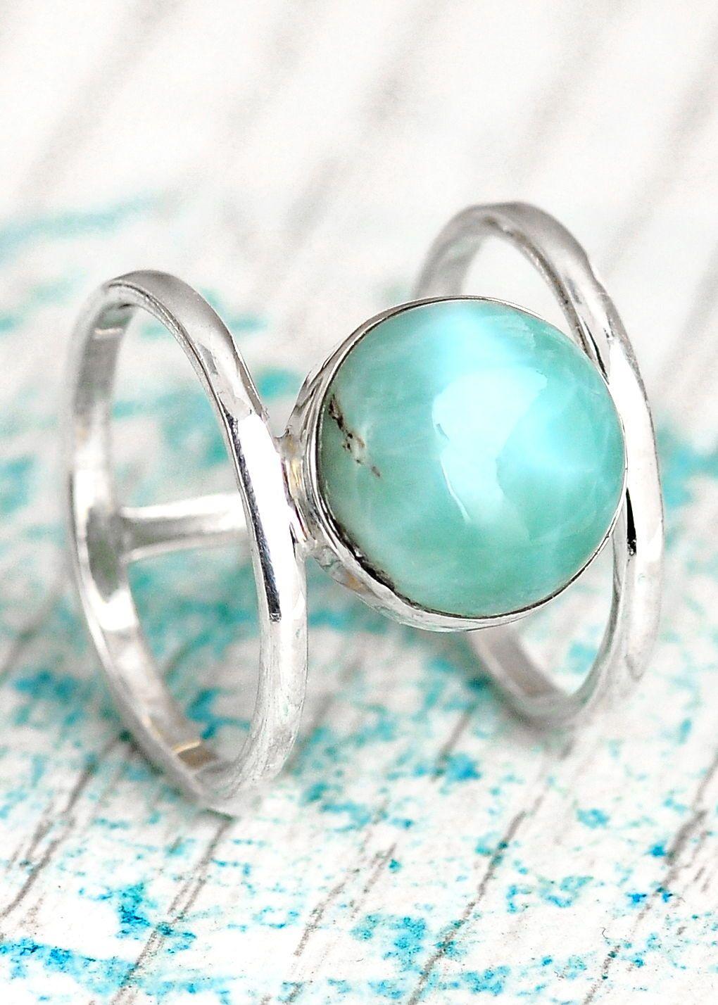 Larimar Ring  Handmade Rings  Ring Stack  Gemstone Ring  Hammered Rings  Larimar Jewelry  Handmade Jewelry  Five Rings  Blue