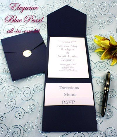 Print Your Own Navy Blue Wedding Invitations, Navy Blue Pocket Wedding  Invitations, Navy Blue Printable Invitation Kits, Navy Blue DIY Wedding  Invitations