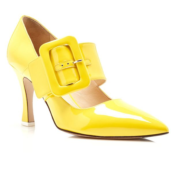 Elsa Buckled Patent-leather Pumps - Yellow Attico Hy41GE
