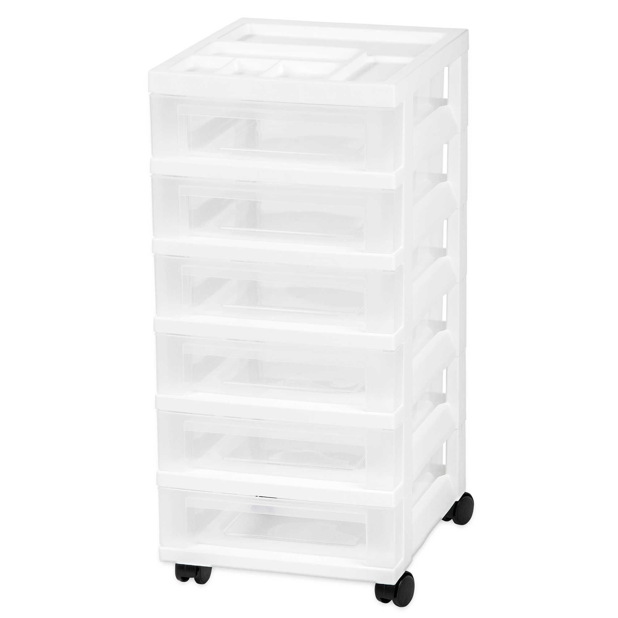 Iris 6 Drawer Rolling Storage Cart In White Plastic Storage Drawers Craft Storage Drawers Storage Cart