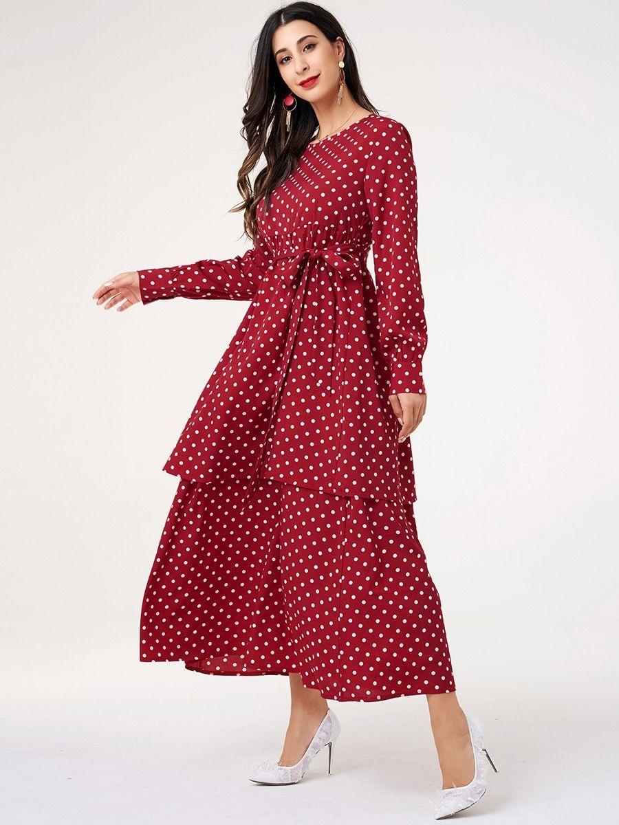 Women S Aline Dress Sash V Neck Long Sleeve Polka Dot Dress Cheap Dresses Online Womens Tops Dressy V Neck Midi Dress [ 1200 x 900 Pixel ]