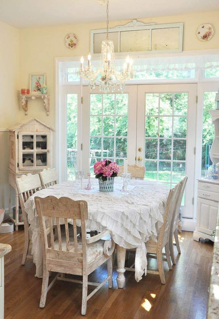 cuisine et déco romantique  Shabby chic dining room, Chic dining
