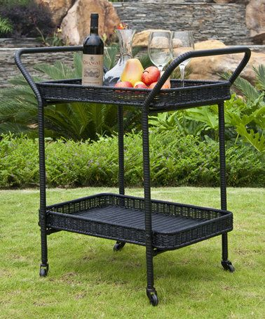 Love This Black Wicker Patio Serving Cart On Zulily