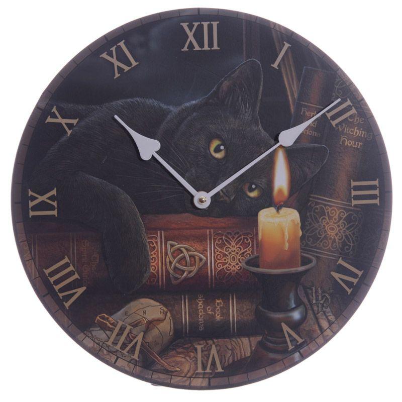 "Reloj diseño Lisa Parker ""The Witching Hour"". Relojes, gatos, magia, fantasía."