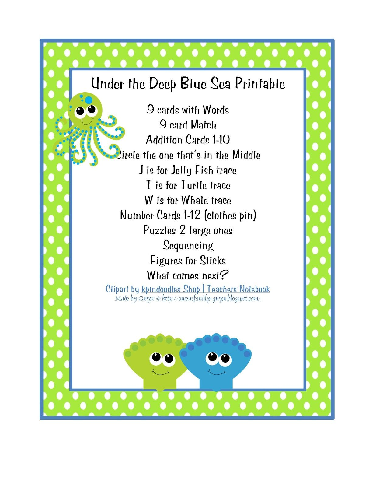 Preschool Printables Sea