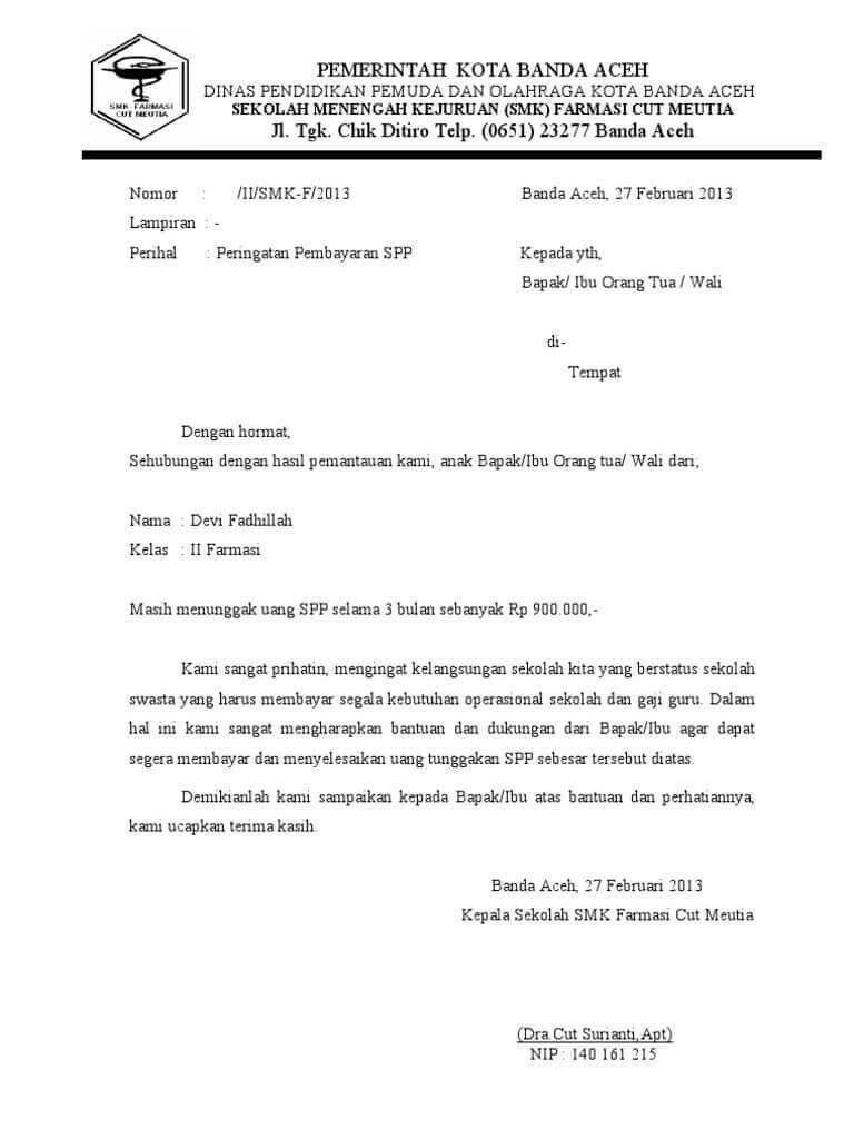Contoh Surat Penagihan Hutang Pemberitahuan Tunggakan Perusahaan Surat Pidana Ekstrakurikuler