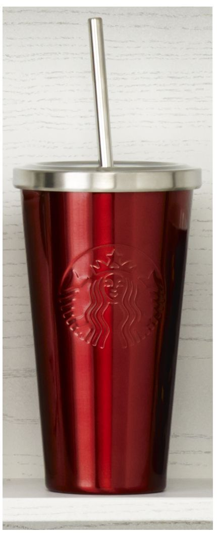 Insulated, stainless steel Cold Cup tumbler with stainless steel straw and red finish. # ...