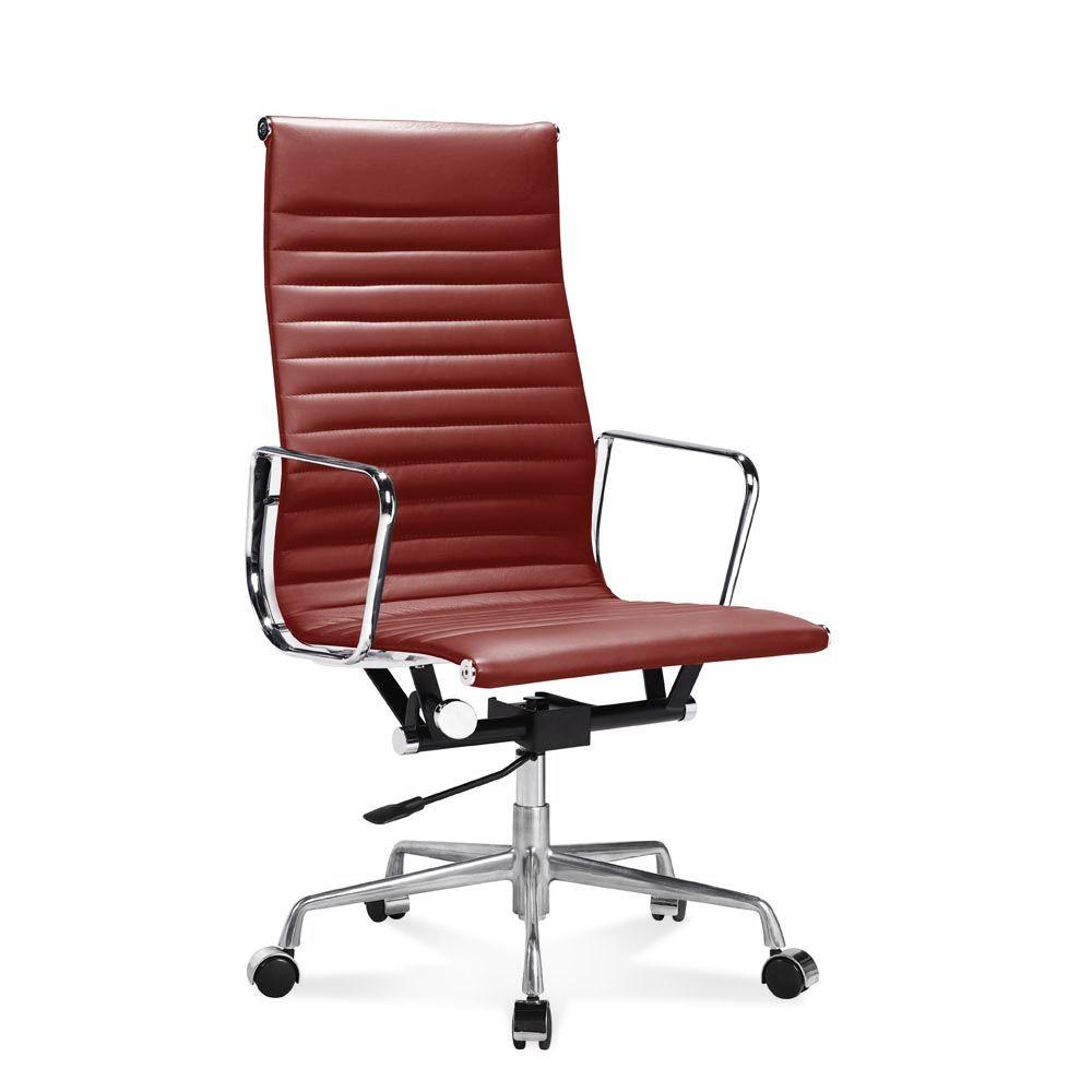 Bürostuhl designklassiker eames  Hoher Eames Office Chair mit geripptem, rotem Leder | Eames ...
