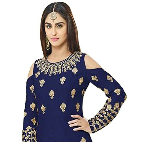 1b6e269c34 Siddeshwary Fab Women s Navy Blue Taffeta Silk Embroidered Gown for Women (  G 04 Blue Priya Gown )