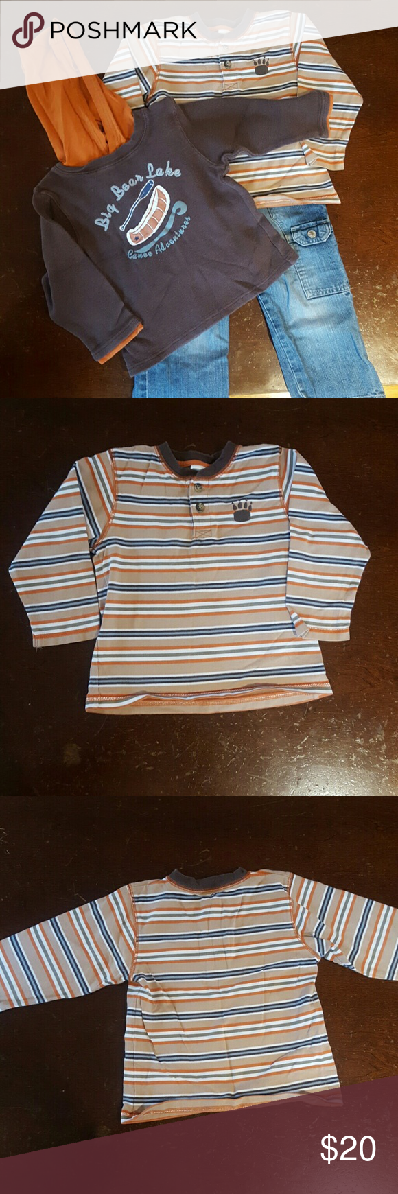 Gymboree striped shirt, sweatshirt and jeans 3T Gymboree brown & orange  hooded sweatshirt with Big Bear Lake Canoe Adventures; orange, tan, brown and blue striped Henley shirt with bear paw; and denim cargo pants. All size 3T and 100% cotton.  No visible stains or damage. Comes from a non-smoking home. Gymboree Matching Sets