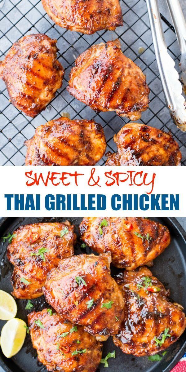 Ce poulet grillé thaï doux et épicé a de vraies saveurs thaïlandaises. Hühn ...