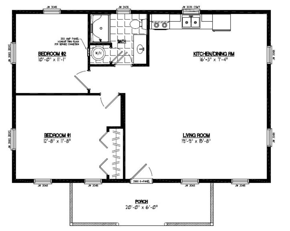 24x36 Pioneer Certified Floor Plan 24or1202 Custom Barns And Buildings The Carriage Shed Cabin Floor Plans Two Bedroom Floor Plan Bedroom House Plans