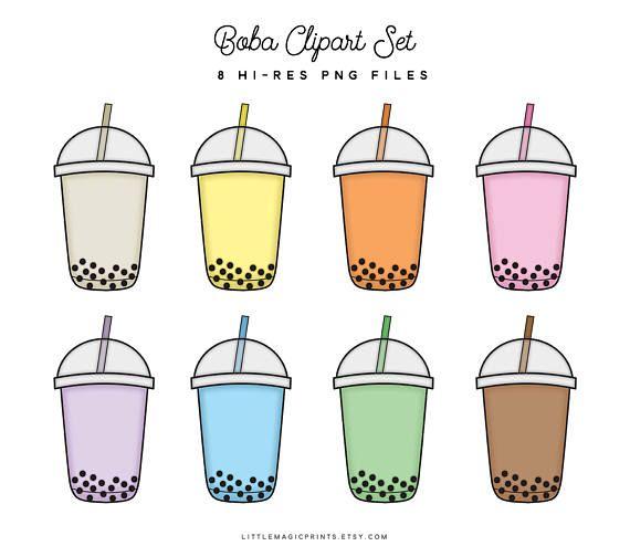 Boba Bubble Tea Clipart Set Planner Sticker Clipart Rainbow Kawaii