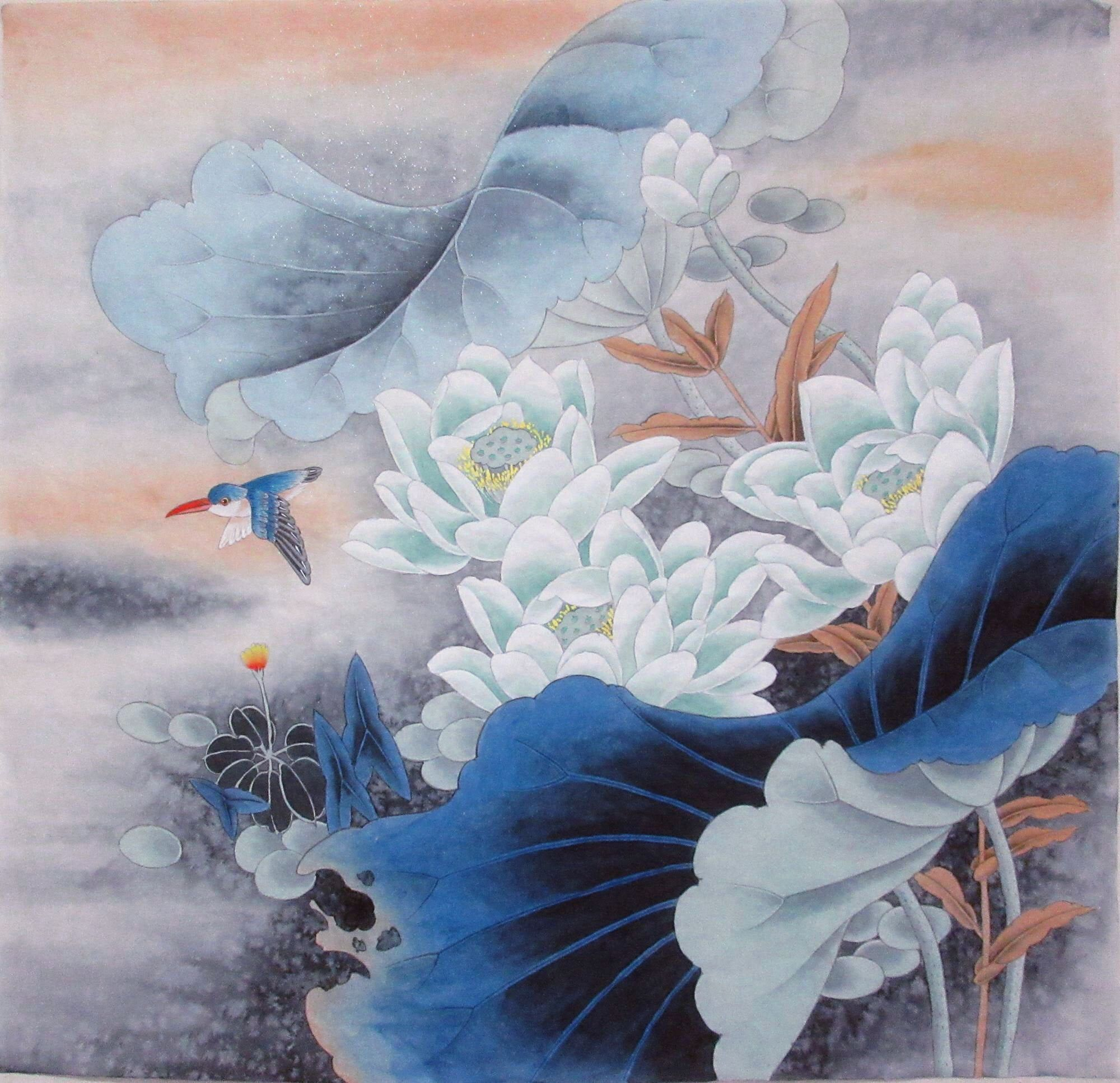 100% Hand-painted,Blue Lotus flower and birds,Chinese brush painting,bird and flower painting,Gongbi painting,original watercolor painting