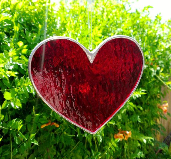 16d219b984f9 Red Heart Stained Glass Sun Catcher 5 Inches by JBsGlassHouse ...