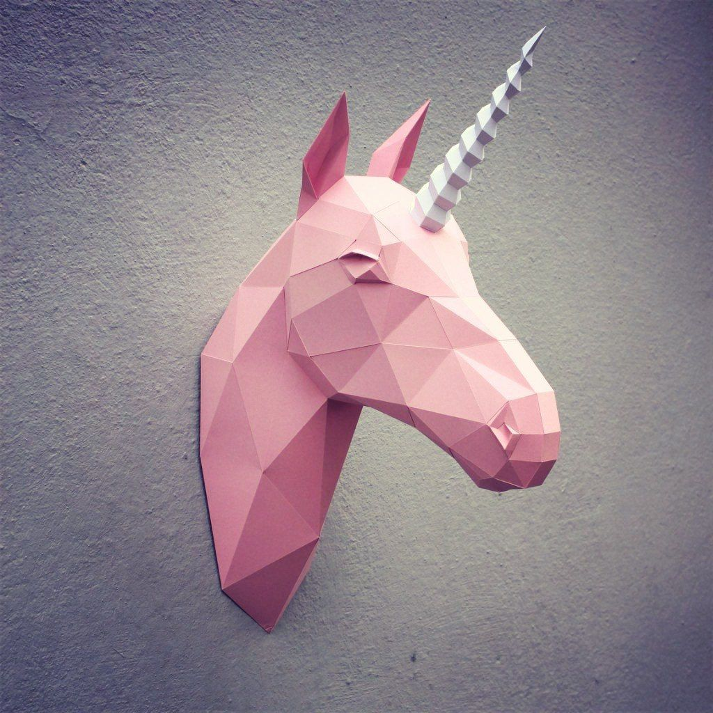 04 paper unicorn head printable digital template for Chambre unicorn